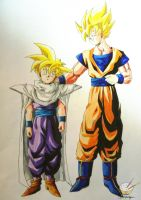 Dragon Ball - Gohan 67 (father and son 2) by songohanart