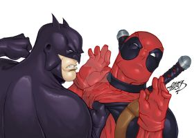 Batman VS Deadpool 2013 COLORED by LucasAckerman