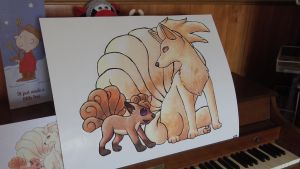 Vulpix And Ninetails Painting by Starrypoke