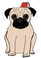 Pug with Fez by Jesuslovechild
