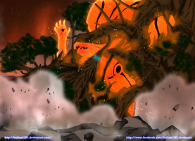 Naruto 608 ~ kurama vs. Wood Dragon by hallow1791