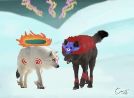 Okami edit- Amaterasu and Oki by DragonCard
