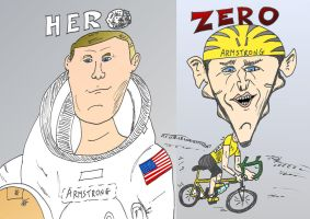 Two Armstrong caricature a binary options asset by optionsclickblogart