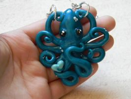 Pearl Blue Octopus Necklace by ThePetiteShop