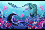 Swimming with the Jellies by windwolf55x5