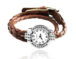Silver Quartz Watch Brown Leather Wrapped Bracelet by crystaland