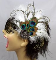 Peacock Hair Fascinator by LittleShopOfLostArts