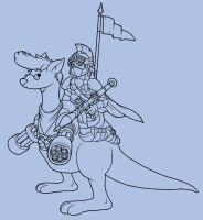 Knight with an RPG on a kangaroo by AzRaezel