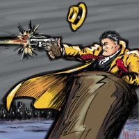 Dick Tracy in the flying bucket by ADE-doodles