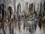 Abstract painting New York skyline acrylic by CynthiaOorschot