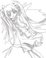 [Sketch] Angeloid Nymph from Sora no Otoshimono by LessHoly