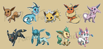Stickers: Eevee Evolutions by forte-girl7