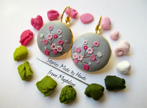 Sakura Clay Handmade Earrings made with a needle by LenaHandmadeJewelry