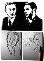Arthur and Eames blockprint by Paperflower86