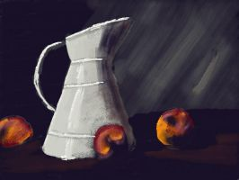 Jug and Peaches by Perianth5
