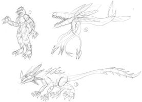 Kaiju Concept Sketches by JacobMatthewSpencer
