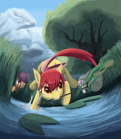 Cutie Mark Crusaders Catch Frogs by Bakuel