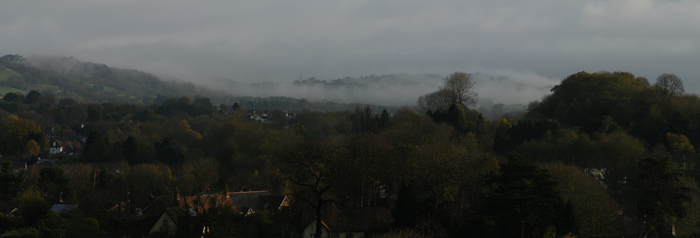 Fog over Caerphilly Mountain by vashtijoy