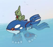 Kyogre with Surfin Larvitar by sunnyfish