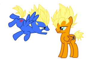 My little pony (DBZ crossover): Goku and Vegeta by BlueThunder66