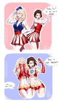 Captain and Stark Cheerleaders [Genderbend Fanart] by MinemikoMali