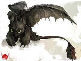 Toothless in graphite by Dreamsoffools