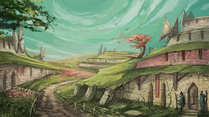 Village in the grass by Yunipar