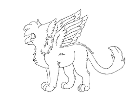 Baby griffin lineart by ArmoredAlienArtist