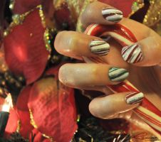 Candy Cane Nails!!! by lamaisol