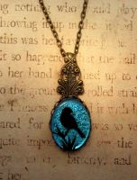 Victorian Bird Fused Glass Necklace by FusedElegance