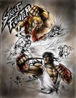 Ken y Ryu - Street Fighter by RAEH