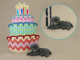 Miniature Schnoodle sculpture by Pajutee