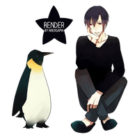 Pinguin and boy Render by AirenSama