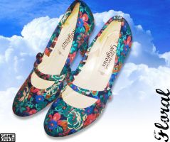 Shoes: Floral Heels by GAME-OVER-CUSTOM