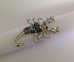 Extremely Unusual Abalone Scorpion Ring by sevvysgirl