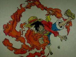 Luffy Gomu Gomu no Red Hawk by victorhvicente