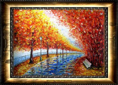 LANDSCAPE art GOLD AUTUM-ALLEY by rybakow