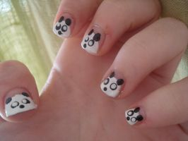 Panda Nails by dragonflyoil