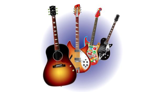 George Harrison's Guitars Vector by 66horsy