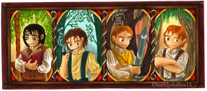 Four Hobbits by Deathlydollies13