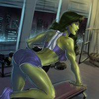 She-Hulk pumping iron workout outfit by SunsetRiders7