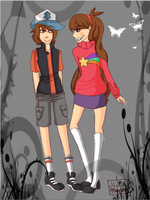 Dipper and Mabel by GarnetGhost