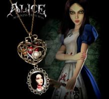 Alice: Madness Returns Heart Pearl necklace by crafting-Farah