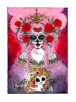 Pink Calavera - watercolors by toolth-ech
