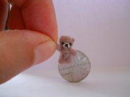 OOAK micro miniature jointed artists bear mushroom by tweebears