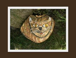 cat painted on the stone by MrsEfi