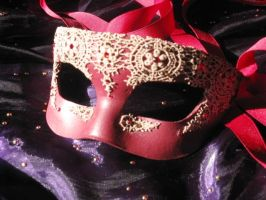 Dreams of Venice in Red Handmade Leather Mask by ToTheMask
