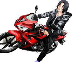 itachi uchiha on bike by CrystalDragon14