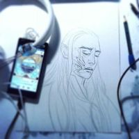 scarred Thranduil wip by Farbenfrei