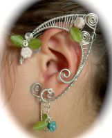 Elf Ear Wraps, Silver with Glass leaves and Flower by jhammerberg